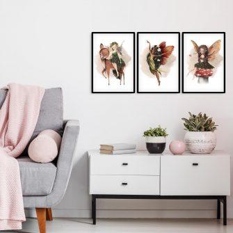 Plakat tryptyk z nimfami leśnymi