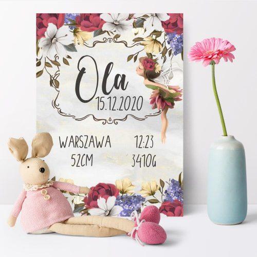 Plakat - Metryczka dla dziewczynek - Bzowa łąka