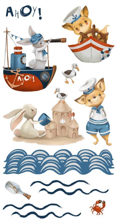 Zestaw naklejek dla dzieci z motywem zwierzątek marynarzy