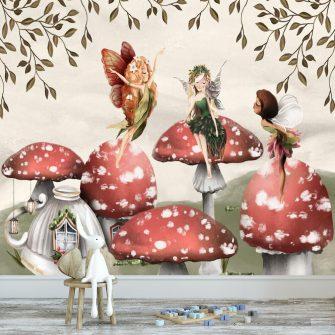 Leśne nimfy w krainie muchomorów - fototapeta dla dzieci