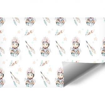 Chłopiec w pióropuszu - Dziecięca fototapeta