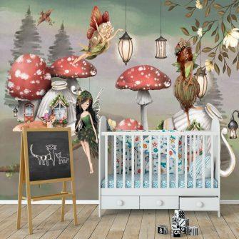 Wróżki i zaczarowane muchomory - fototapeta dla dzieci