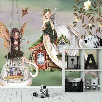 Leśne nimfy na fototapecie dla dziewczynki