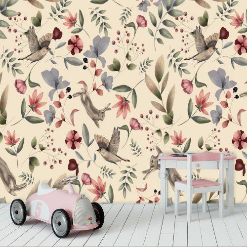 Króliczki i ptaszki - tapeta dla dzieci