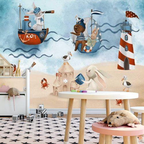 Kraby i Króliczek na Plaży - Fototapeta dla dzieci