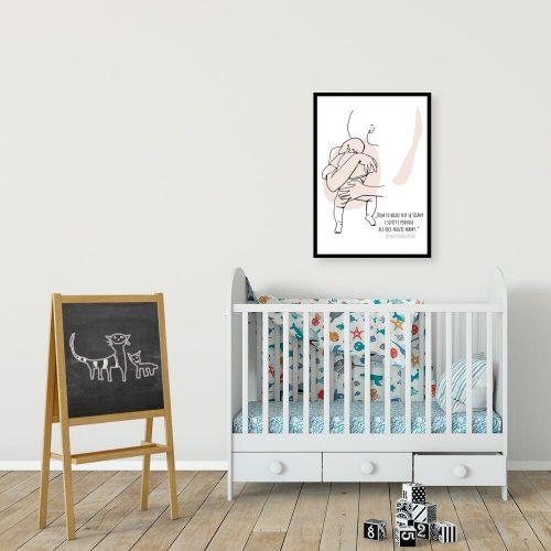 Plakat dziecięcy z sentencją o mamie nad łóżeczko