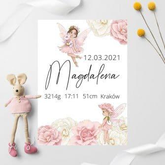 Plakat dla Magdaleny z jej danymi urodzeniowymi