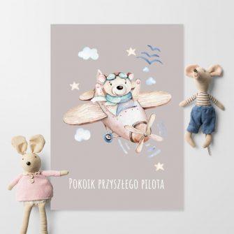 Plakat dla dzieci z napisem i samolotem do pokoju rodzeństwa