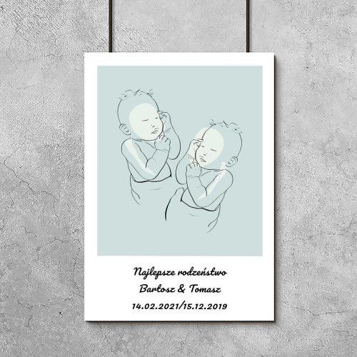 Niebieski plakat line art dla rodzeństwa