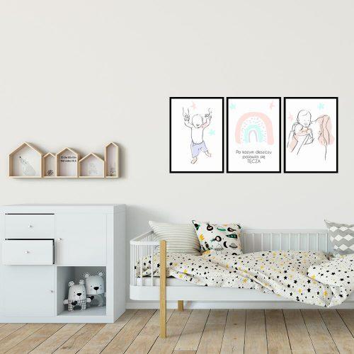 zestaw trzech plakatów dziecięcych