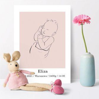 Różowy plakat - metryczka z bobaskiem dla niemowlaka