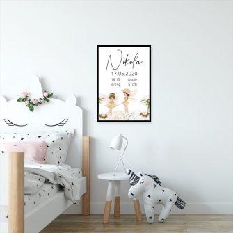 Plakat dla dziecka z danymi urodzeniowymi - tabliczka