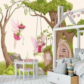 Foto-tapeta domek w drzewie i huśtawka