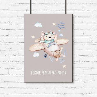 Plakat z napisem dla dzieci - Samolot