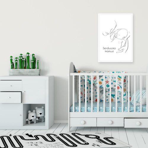 Plakat dla dzieci z napisem - Serduszko mamusi nad łóżeczko dziecka