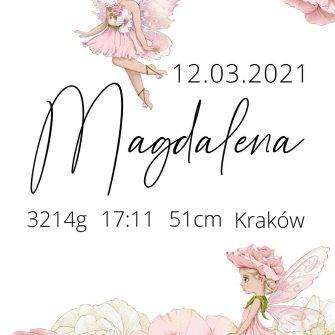 Plakat z imieniem dla noworodka z czarodziejkami