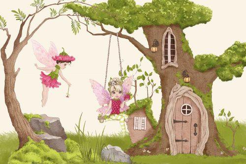 Foto-tapeta z domkiem w drzewie i wróżkami