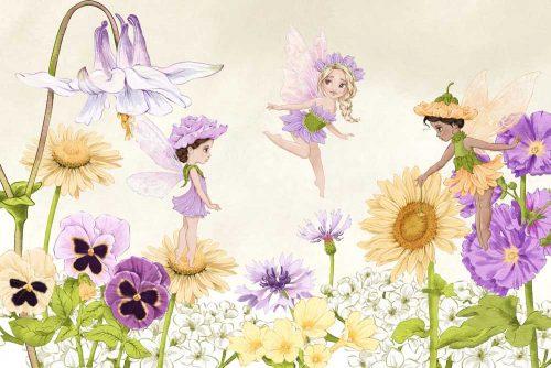 Tapeta z kwiatowymi wróżkami na łące