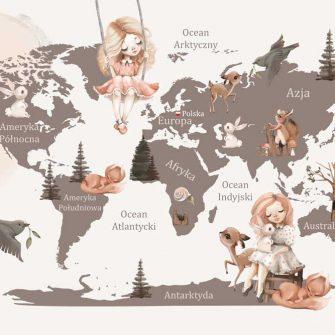 Foto-tapeta z kontynentami i zwierzątkami