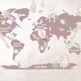 Tapeta z kontynentami dla dzieci