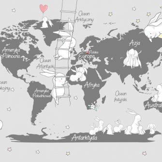 Fototapeta białe króliczki na mapie z kontynentami