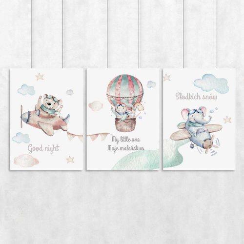 Komplet plakatów dziecięcych z napisami po angielsku