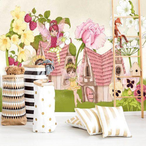 Foto-tapeta do pokoju dziewczynki z motywem rusałek i kwiatów