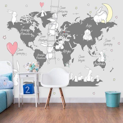Foto-tapeta z mapą świata do pokoju dzieci