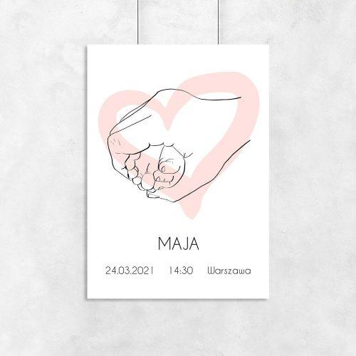 Plakat imienny dla dziewczynki z motywem stópek nad łóżeczko