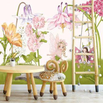 Fototapeta z nimfami wśród kwiatów