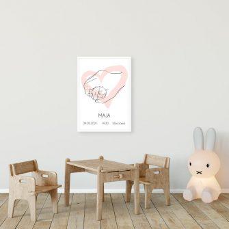 Plakat imienny dla dziewczynki z motywem stópek do dekoracji ściany