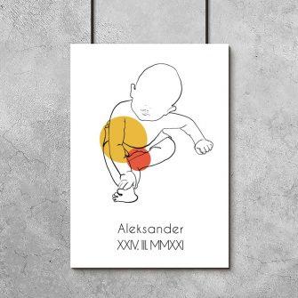 Pomarańczowy plakat line art dla chłopca