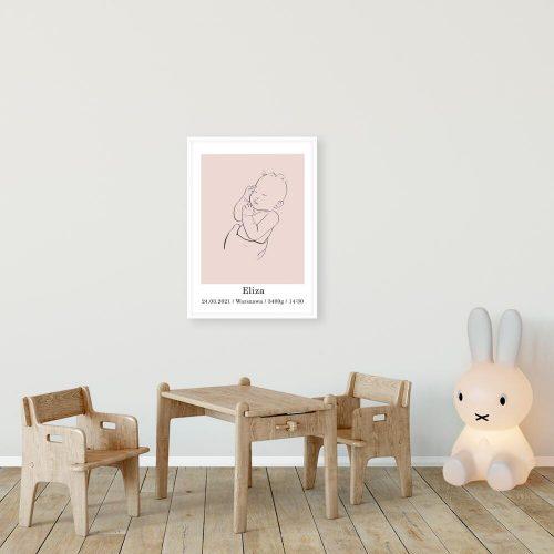 Różowy plakat - metryczka z bobaskiem nad łóżeczko dziecka