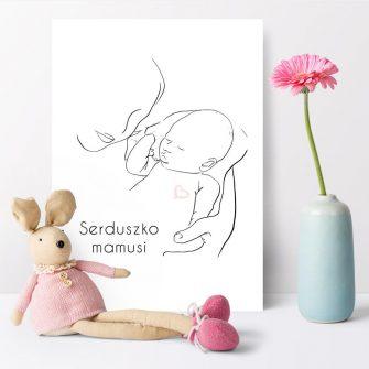 Plakat dla dzieci z napisem - Serduszko mamusi dla chłopca