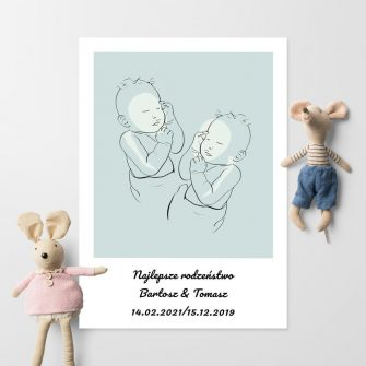 Dziecięcy plakat nowoczesny dla rodzeństwa