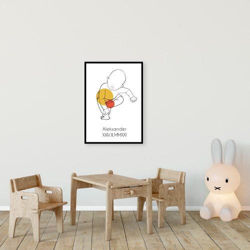 Artystyczny plakat pomarańczowy dla dzieci