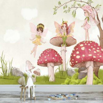 Tapeta z bajkowymi postaciami do dekoracji pokoju zabaw