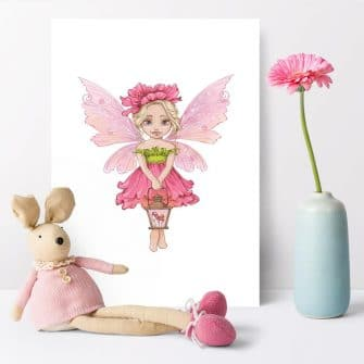 Różowy plakat z wróżką dla przedszkolaka