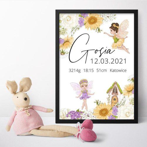 Plakat dla Gosi z data urodzenia oraz wagą