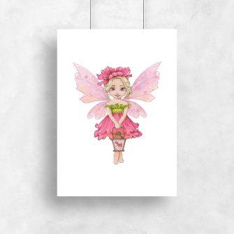 Różowy plakat z wróżką do dziecięcego pokoju
