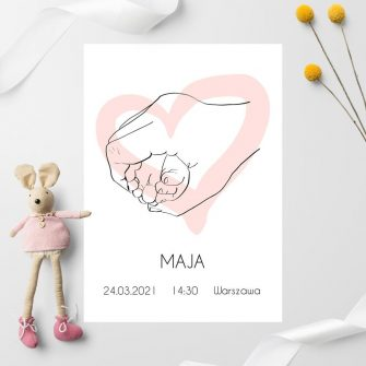 Plakat imienny dla dziewczynki z motywem stópek