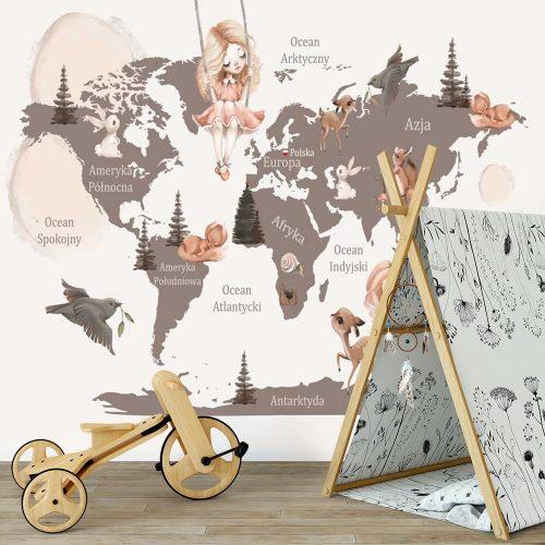 Tapeta w kolorze brązowym z mapą świata