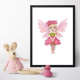 Różowy plakat z wróżką dla dziewczynki