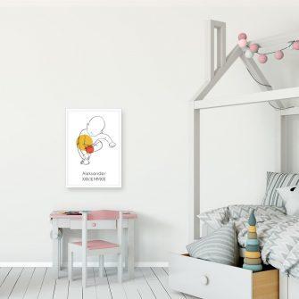 Pomarańczowy plakat line art do dziecinnego pokoju