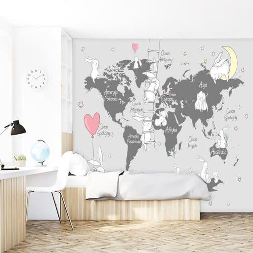 Dziecięca mapa świata na tapecie