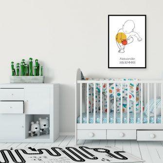 Artystyczny plakat dla dzieci w kolorze pomarańczowym