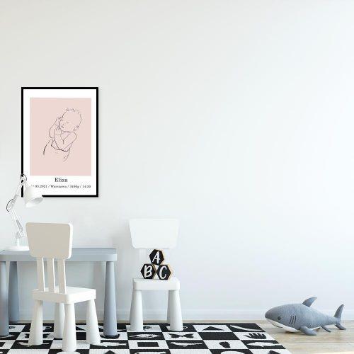 Różowy plakat - metryczka z bobaskiem dla dziewczynki