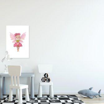 Różowy plakat z wróżką dla rodzeństwa