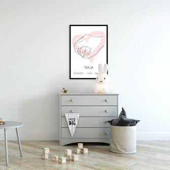 Plakat imienny do pokoju niemowlaka - Line art