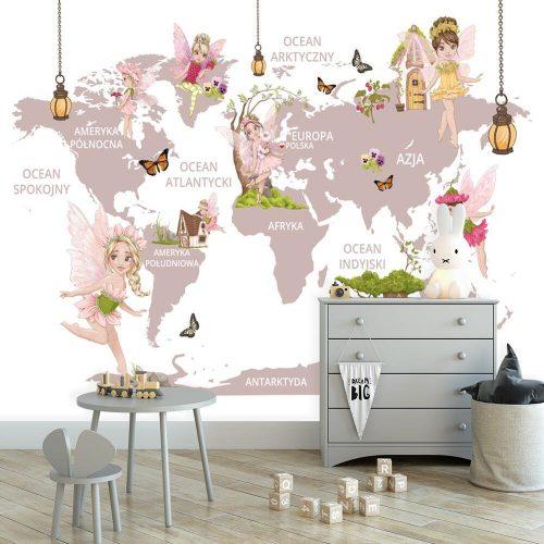 Tapeta z motywem mapy świata i elfami